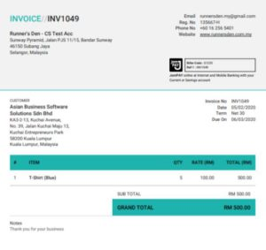 Financio Malaysia online Invoice sample